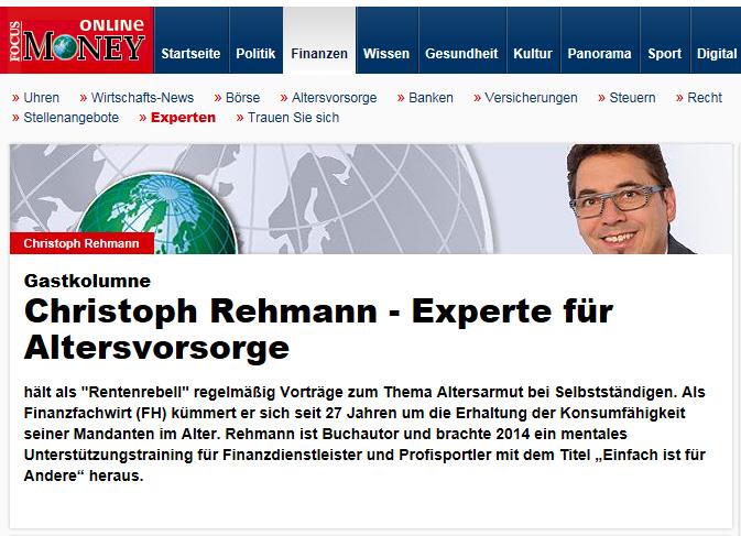 Gastkolumne von Christoph Rehmann für Focus Online Money